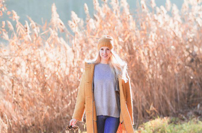 Herbstfarben – Gelber Wollmantel von Esprit