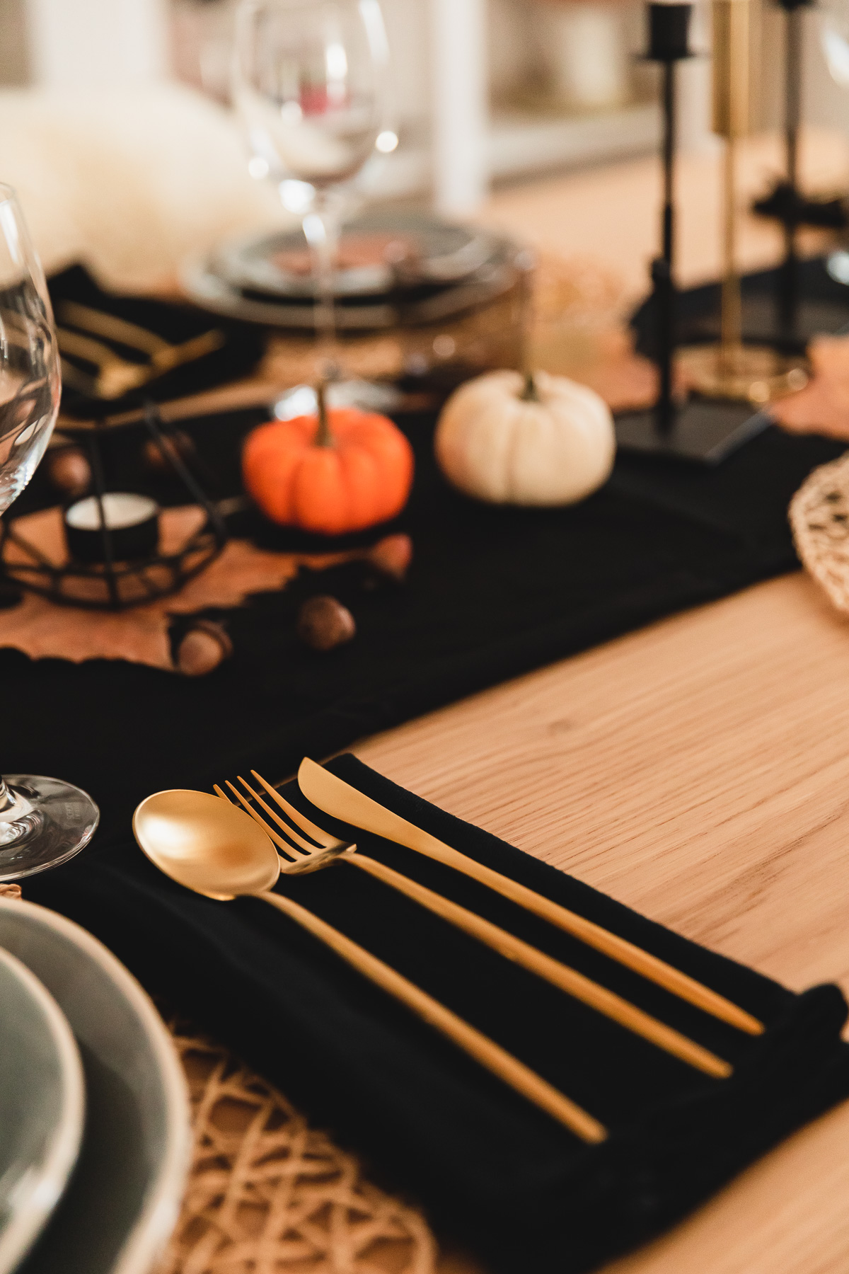 Herbstliche Tischdeko Halloween Thanksgiving Mit Fork You